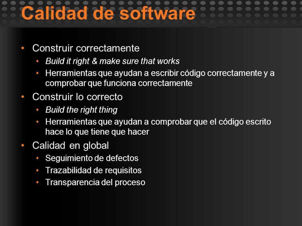 Calidad de software Construir correctamente Construir lo correcto