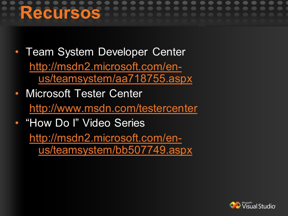 Recursos Team System Developer Center