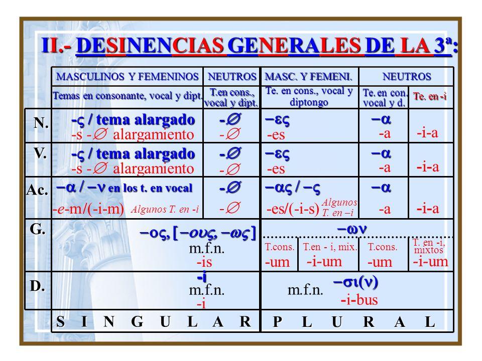 II.- DESINENCIAS GENERALES DE LA 3ª: