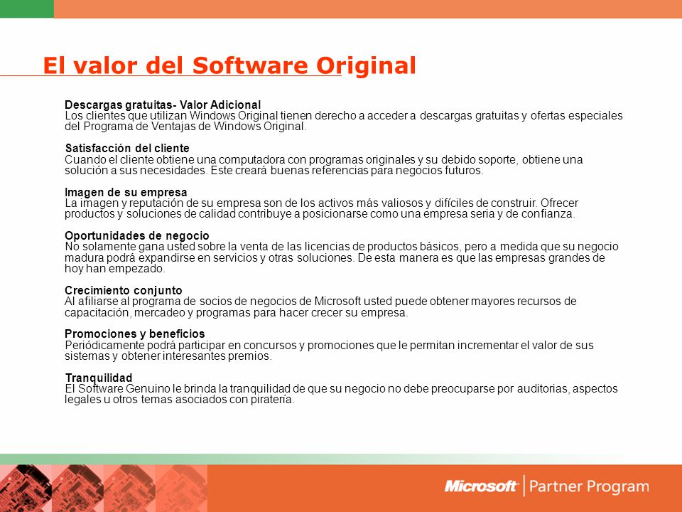 El valor del Software Original