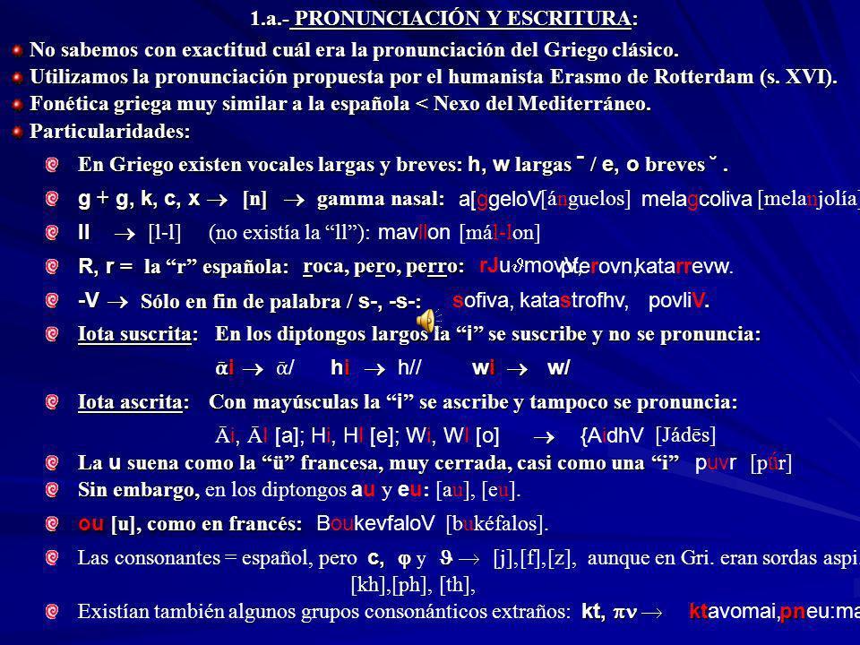 1.a.- PRONUNCIACIÓN Y ESCRITURA: