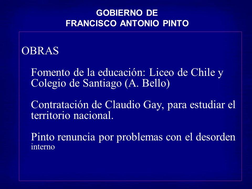 GOBIERNO DE FRANCISCO ANTONIO PINTO