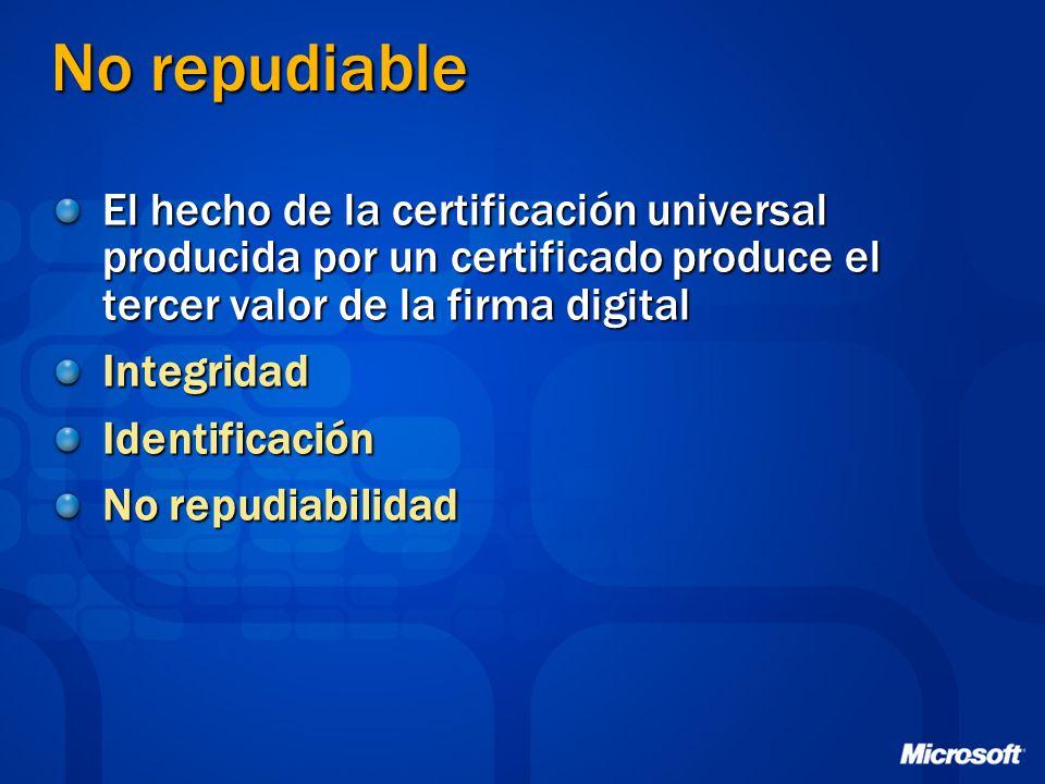 No repudiable El hecho de la certificación universal producida por un certificado produce el tercer valor de la firma digital.