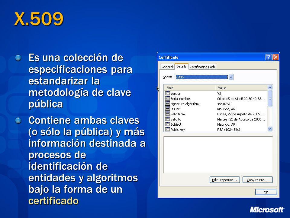 X.509 Es una colección de especificaciones para estandarizar la metodología de clave pública.