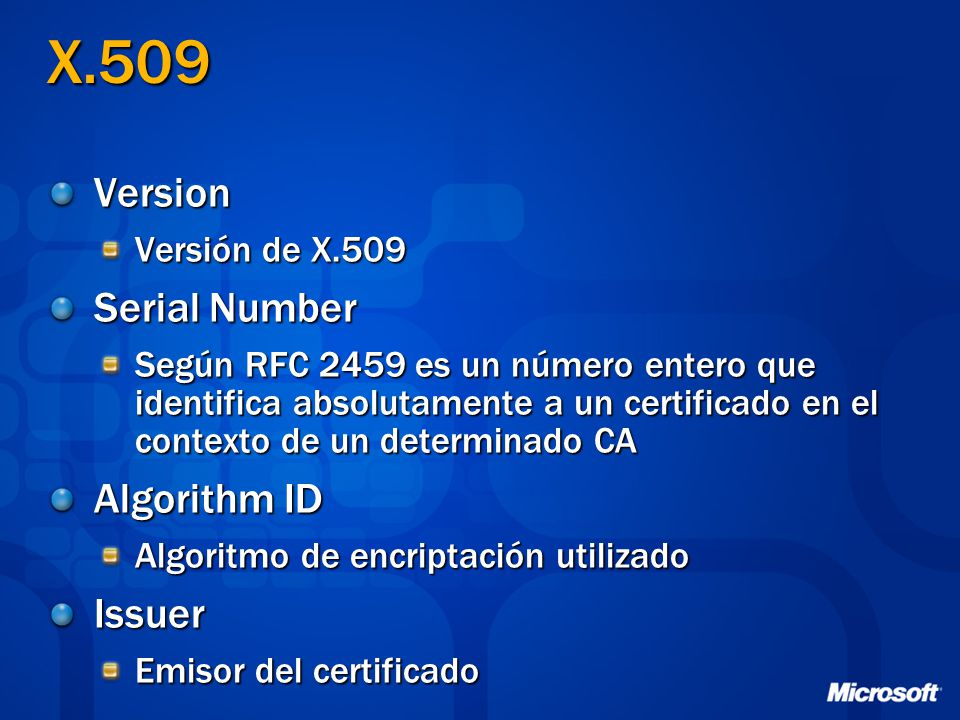 X.509 Version Serial Number Algorithm ID Issuer Versión de X.509