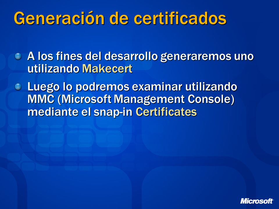 Generación de certificados
