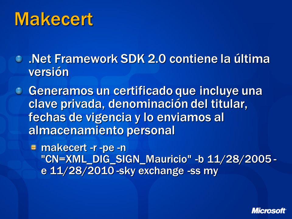 Makecert .Net Framework SDK 2.0 contiene la última versión