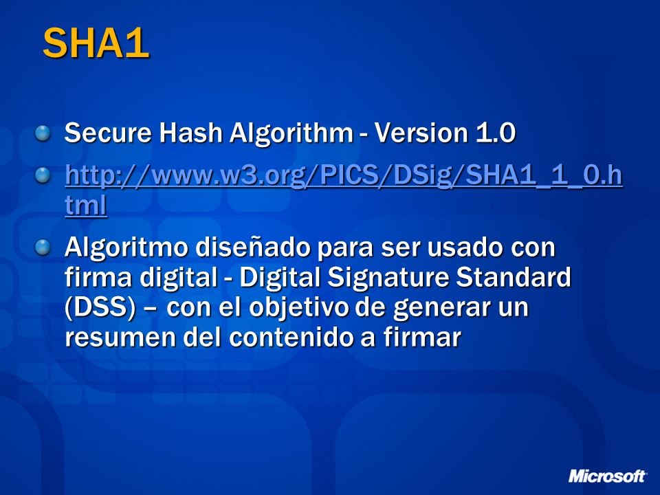 SHA1 Secure Hash Algorithm - Version 1.0