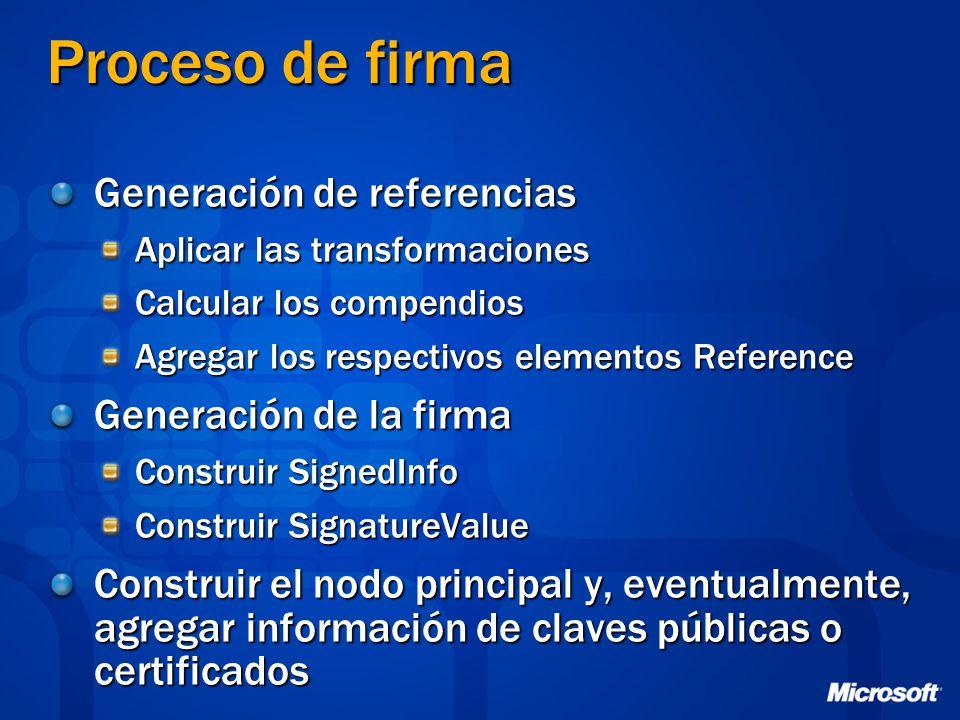 Proceso de firma Generación de referencias Generación de la firma