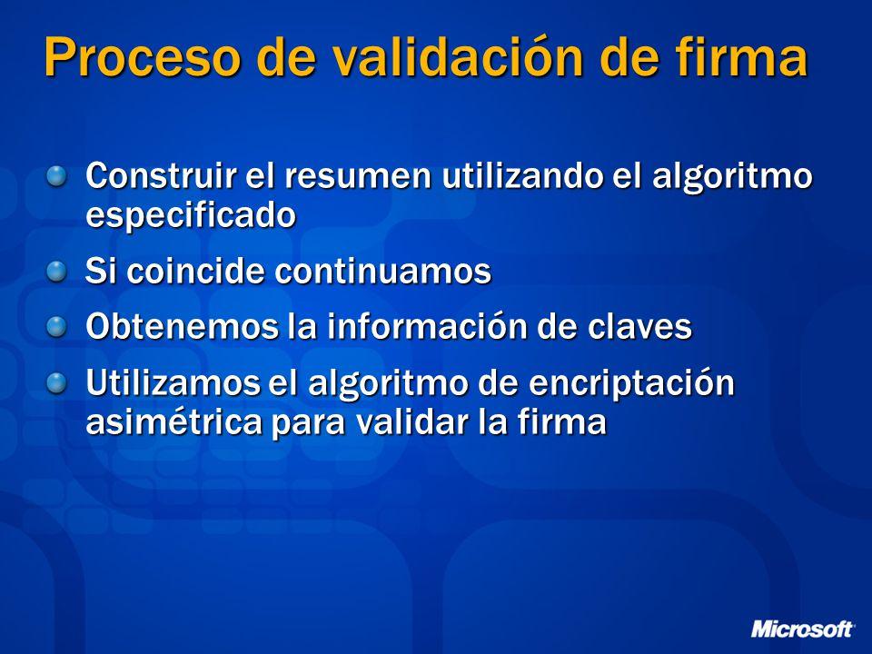 Proceso de validación de firma