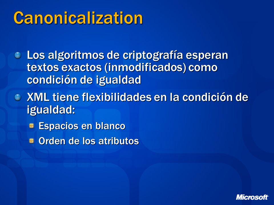Canonicalization Los algoritmos de criptografía esperan textos exactos (inmodificados) como condición de igualdad.