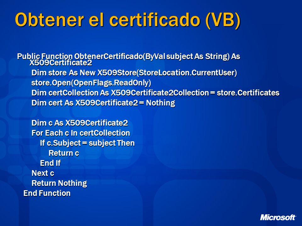 Obtener el certificado (VB)