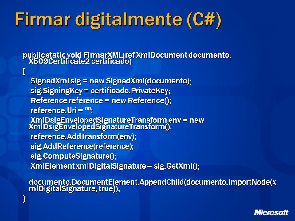 Firmar digitalmente (C#)