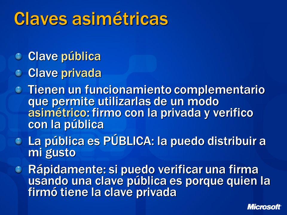 Claves asimétricas Clave pública Clave privada