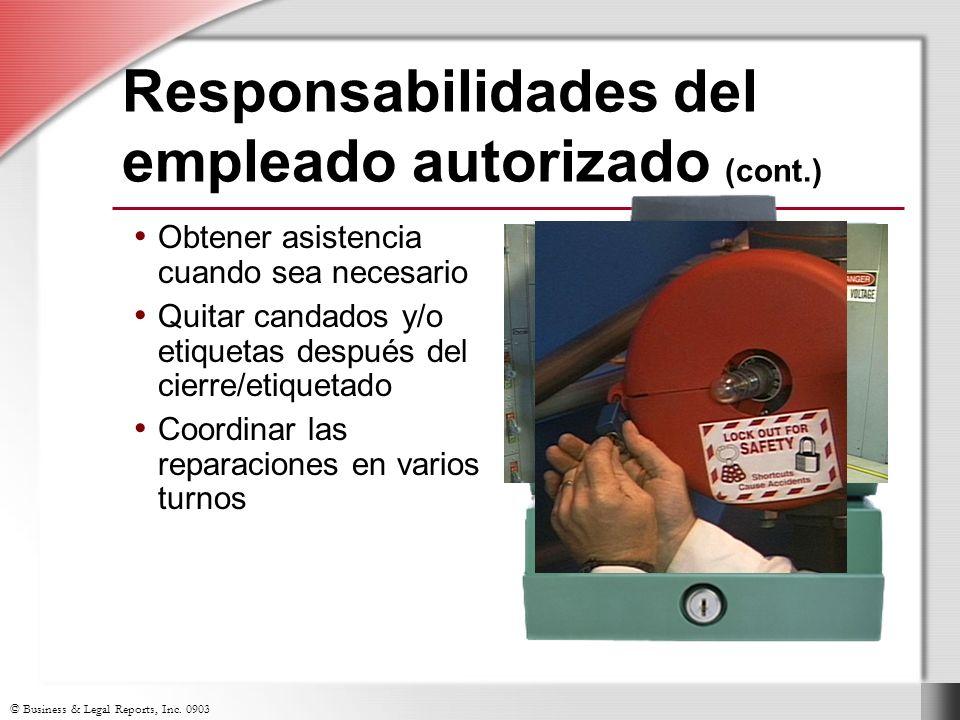 Responsabilidades del empleado autorizado (cont.)