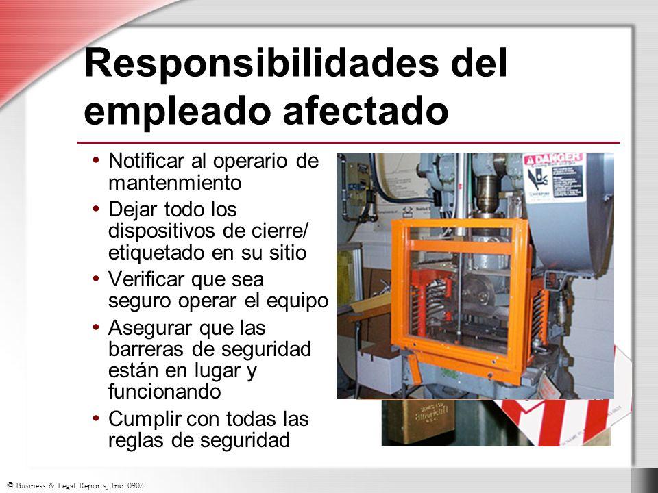 Responsibilidades del empleado afectado