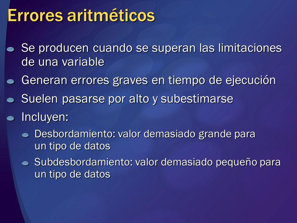 MGB 2003 Errores aritméticos. Se producen cuando se superan las limitaciones de una variable. Generan errores graves en tiempo de ejecución.
