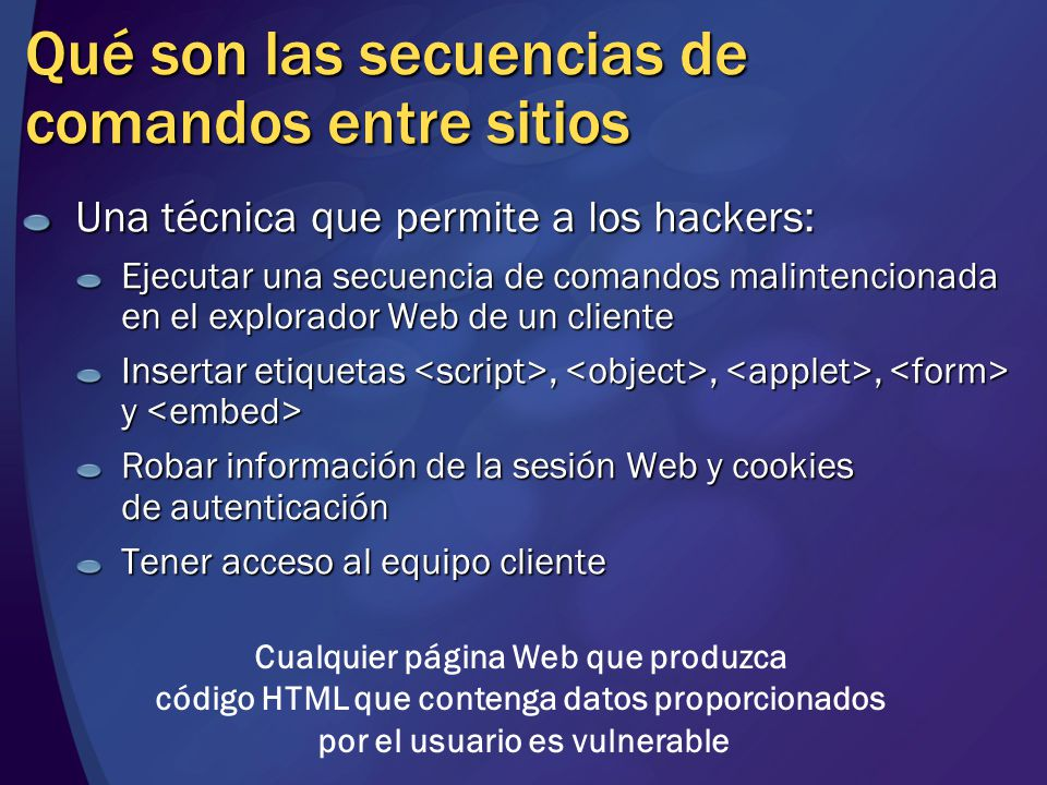 Qué son las secuencias de comandos entre sitios