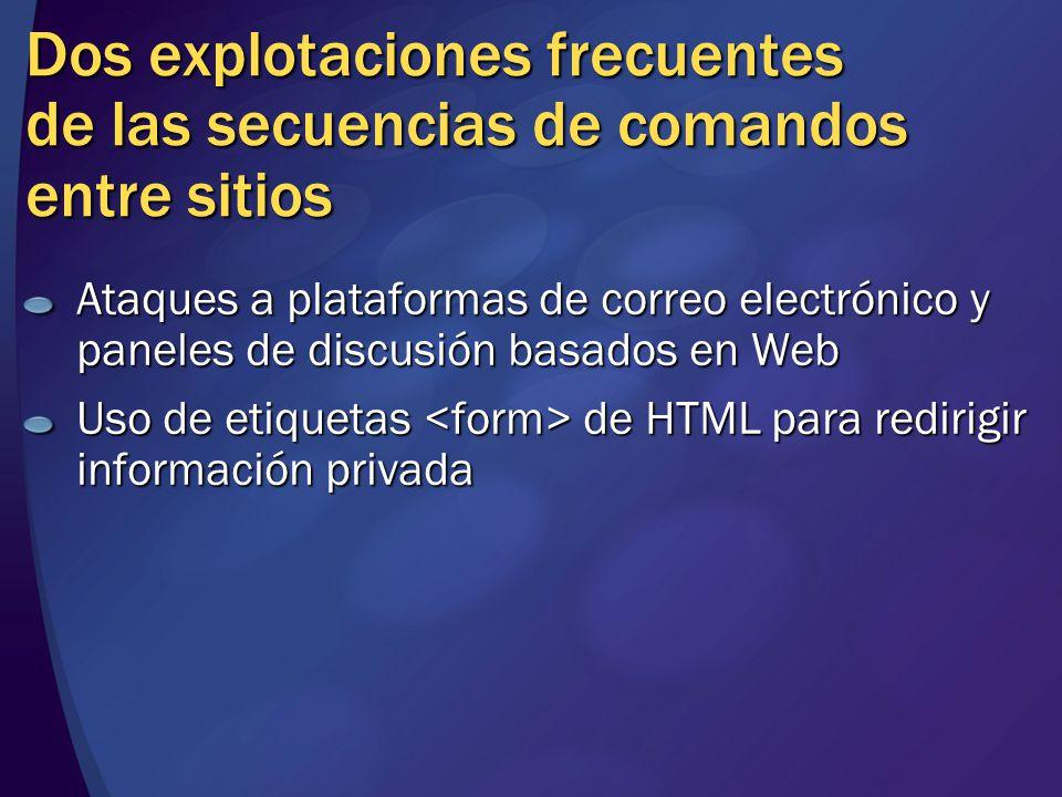 MGB 2003 Dos explotaciones frecuentes de las secuencias de comandos entre sitios.