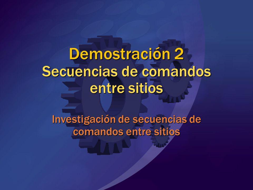 MGB 2003 Demostración 2 Secuencias de comandos entre sitios Investigación de secuencias de comandos entre sitios.