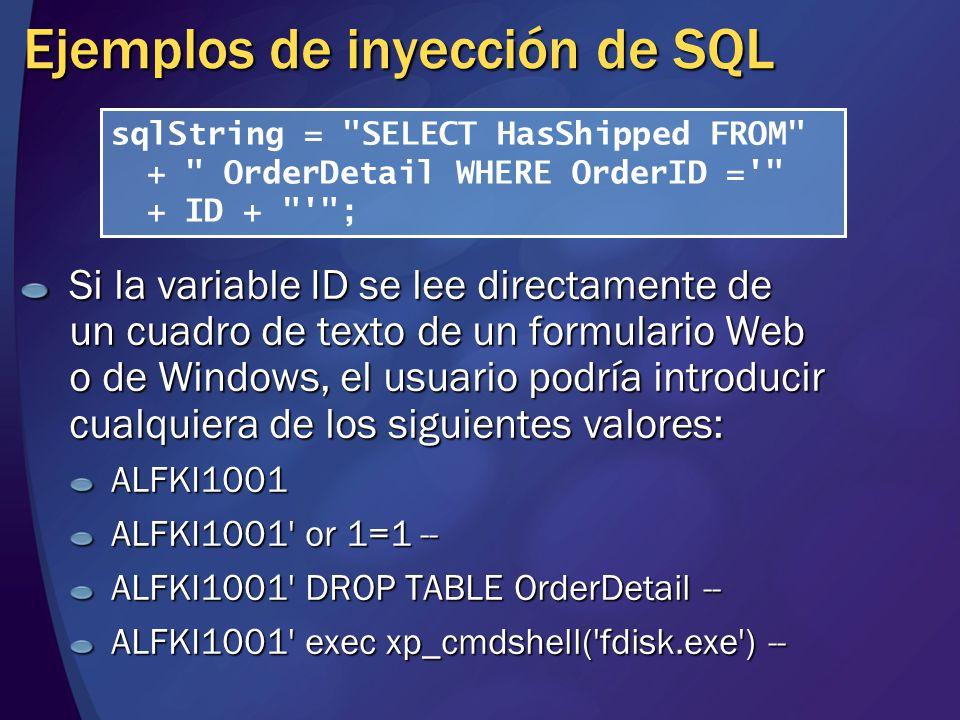 Ejemplos de inyección de SQL