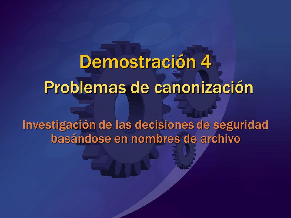 MGB 2003 Demostración 4 Problemas de canonización Investigación de las decisiones de seguridad basándose en nombres de archivo.