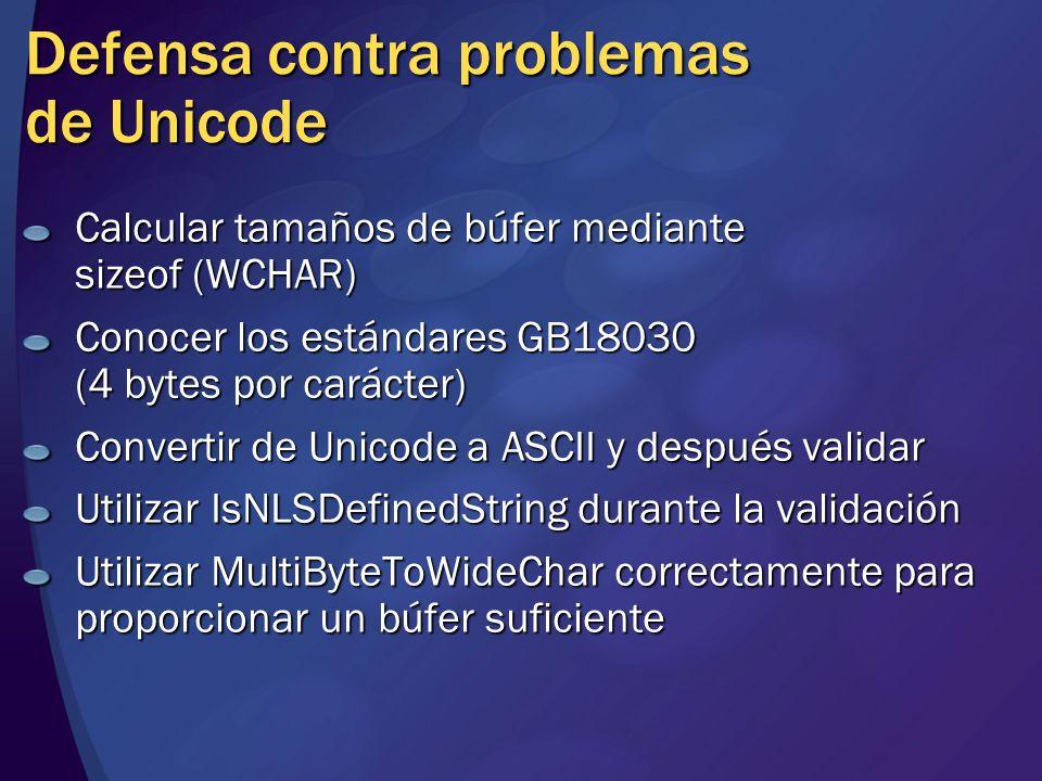 Defensa contra problemas de Unicode