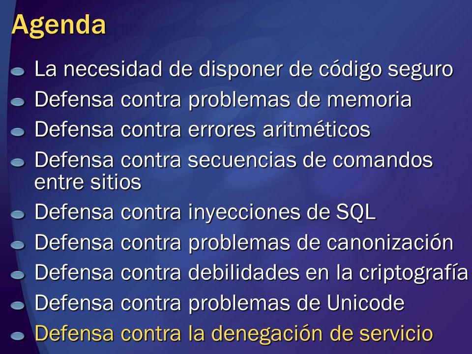 Agenda La necesidad de disponer de código seguro