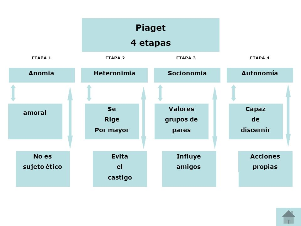 Piaget 4 etapas Anomia Heteronimia Socionomia Autonomía Se Rige