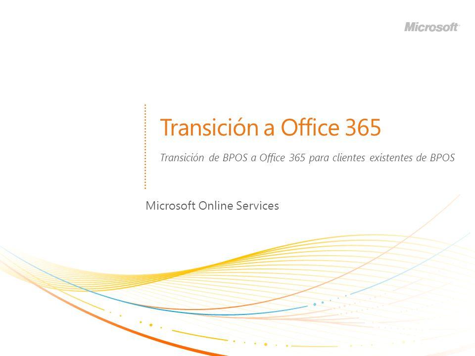 Transición de BPOS a Office 365 para clientes existentes de BPOS