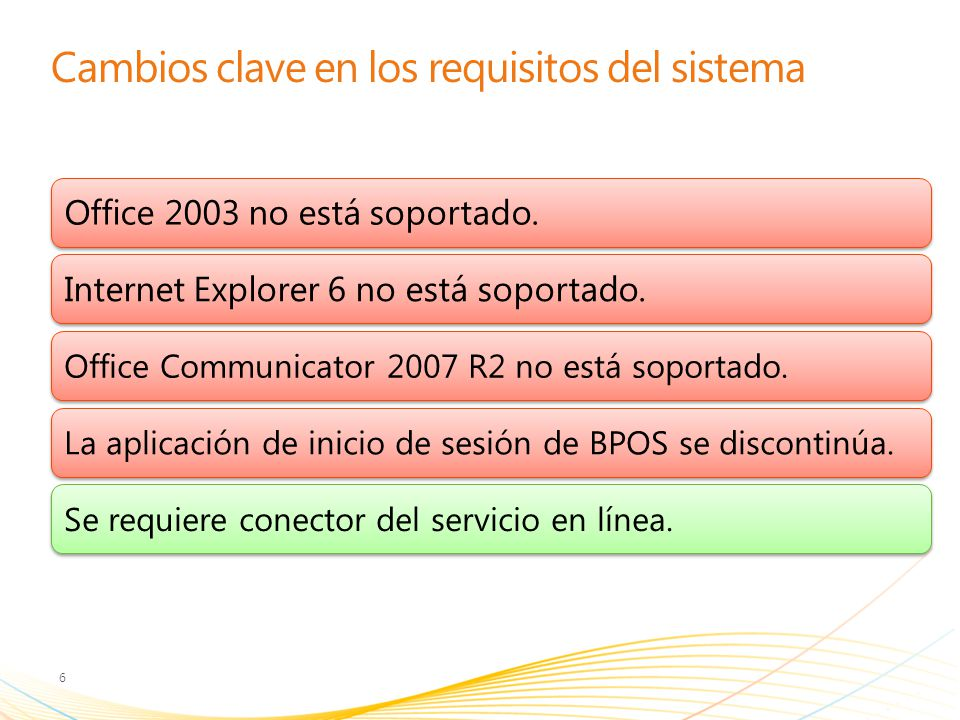 Cambios clave en los requisitos del sistema