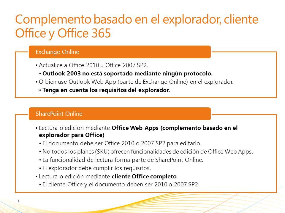 Complemento basado en el explorador, cliente Office y Office 365