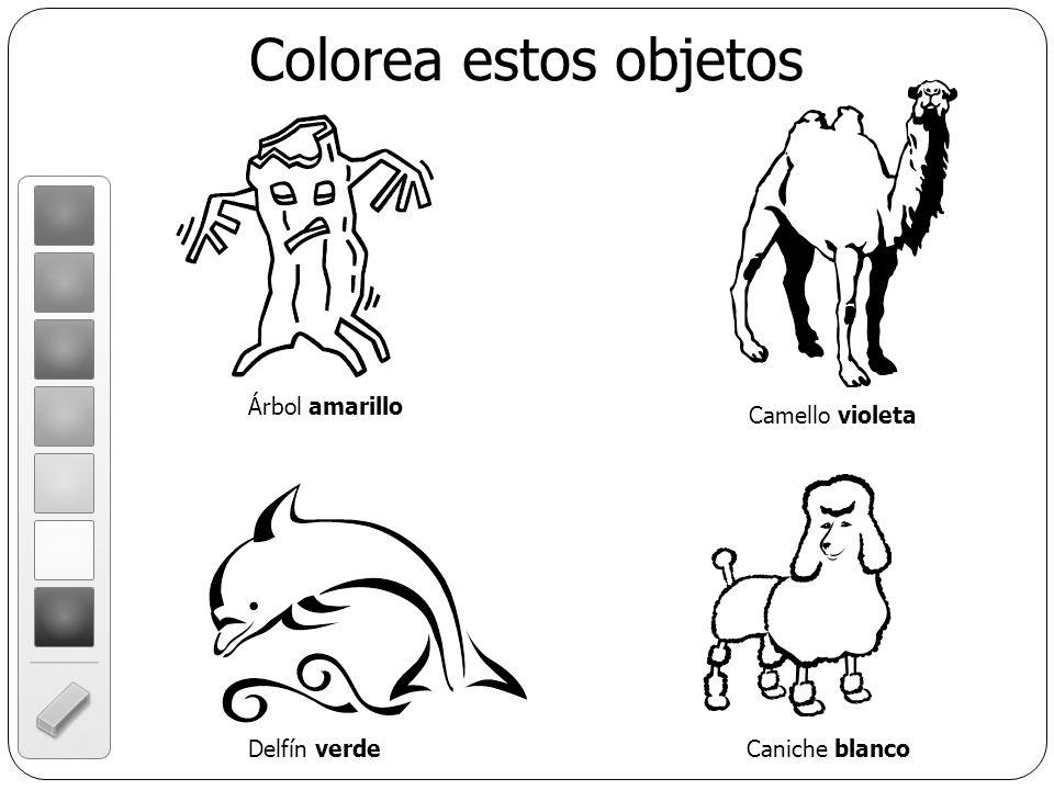Colorea estos objetos Árbol amarillo Camello violeta Delfín verde