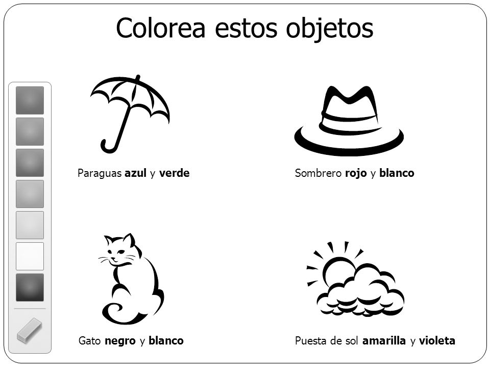 Colorea estos objetos Paraguas azul y verde Sombrero rojo y blanco