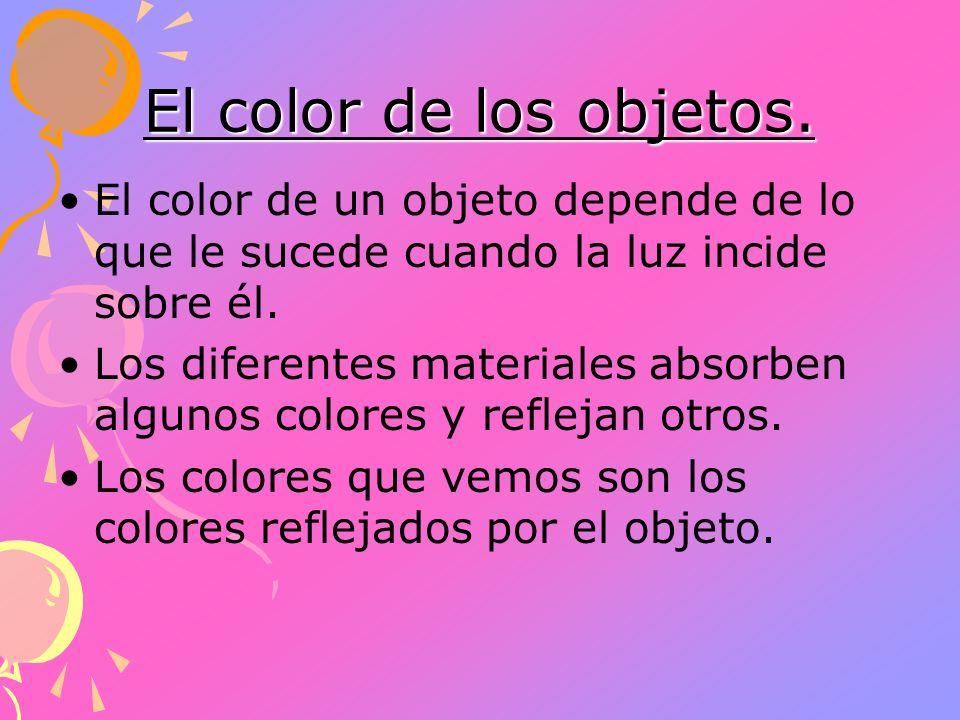 El color de los objetos.El color de un objeto depende de lo que le sucede cuando la luz incide sobre él.