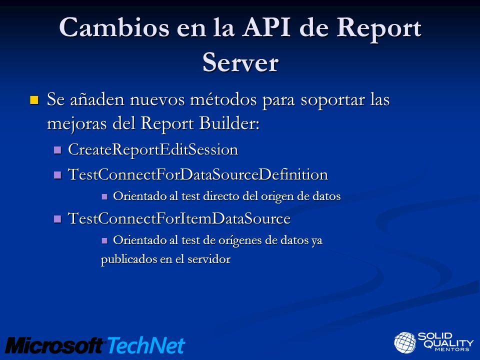 Cambios en la API de Report Server