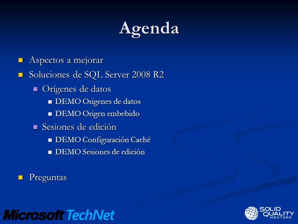 Agenda Aspectos a mejorar Soluciones de SQL Server 2008 R2