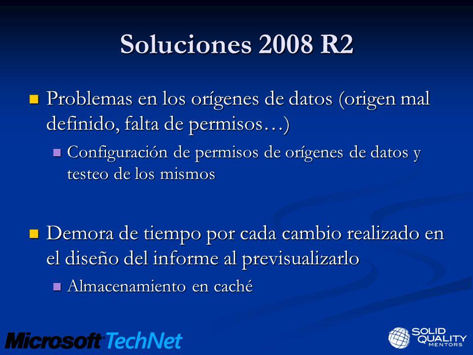 Soluciones 2008 R2 Problemas en los orígenes de datos (origen mal definido, falta de permisos…)