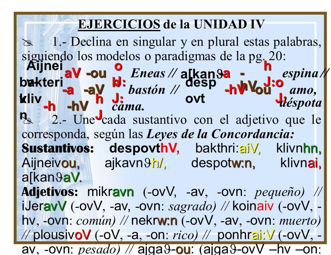 EJERCICIOS de la UNIDAD IV
