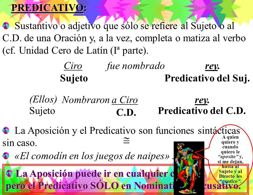 PREDICATIVO: Sustantivo o adjetivo que sólo se refiere al Sujeto o al C.D. de una Oración y, a la vez, completa o matiza al verbo.