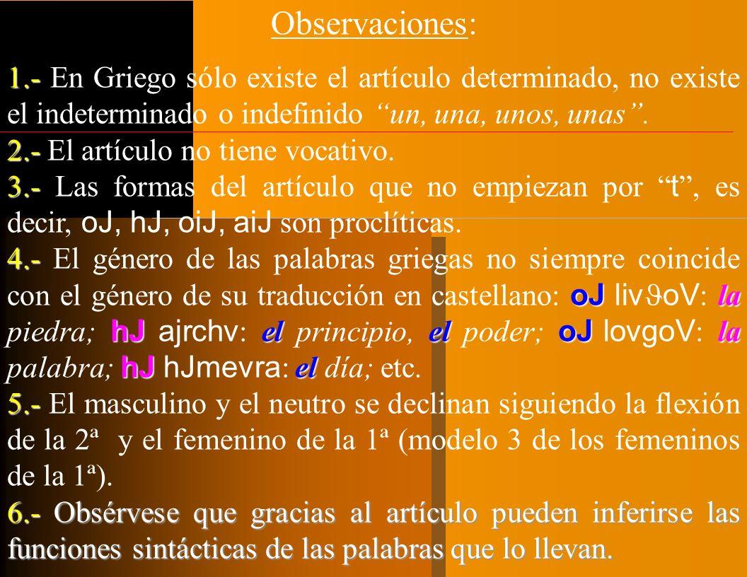 Observaciones: 1.- En Griego sólo existe el artículo determinado, no existe el indeterminado o indefinido un, una, unos, unas .
