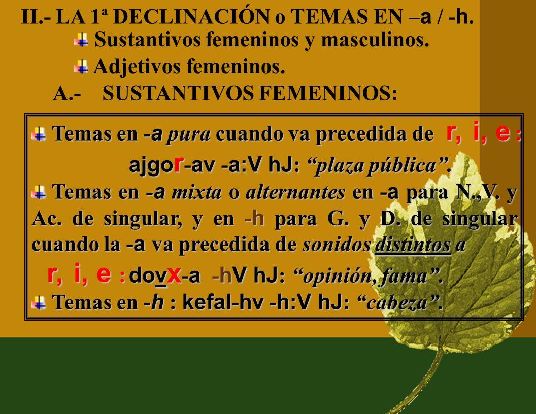 II.- LA 1ª DECLINACIÓN o TEMAS EN –a / -h.