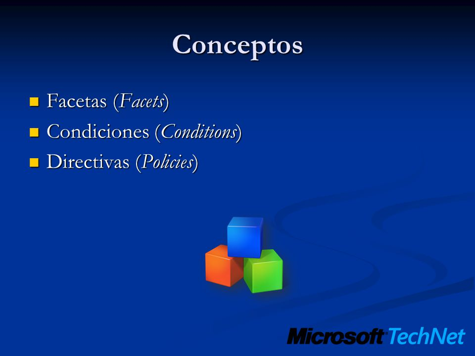 Conceptos Facetas (Facets) Condiciones (Conditions)