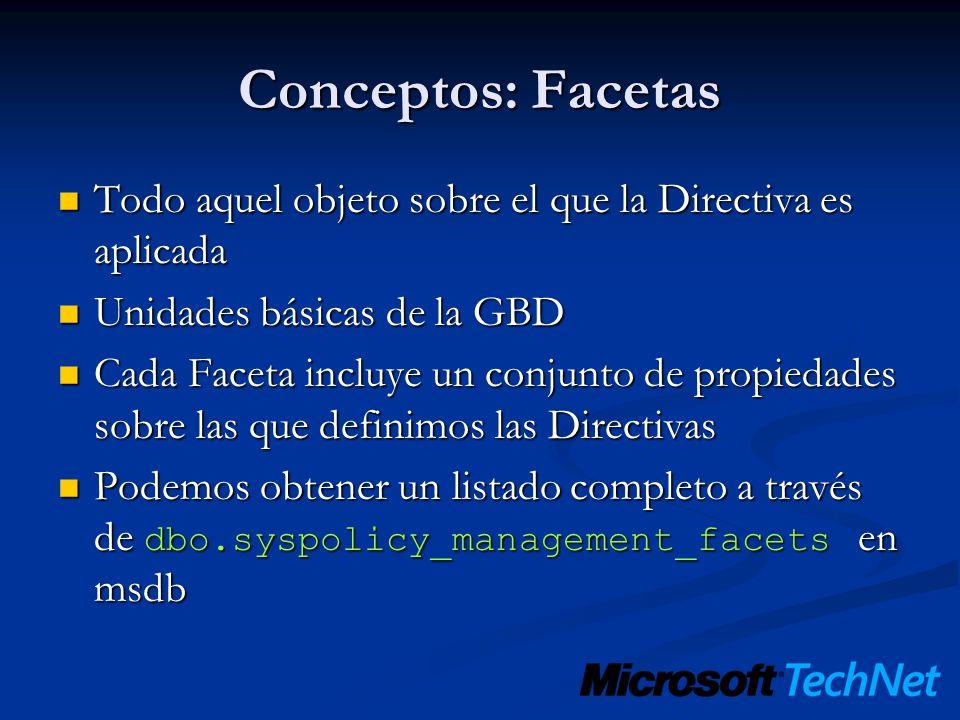 Conceptos: Facetas Todo aquel objeto sobre el que la Directiva es aplicada. Unidades básicas de la GBD.
