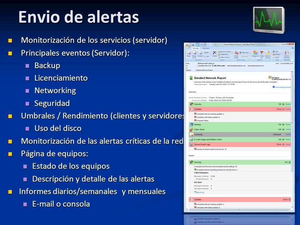 Envio de alertas Monitorización de los servicios (servidor)