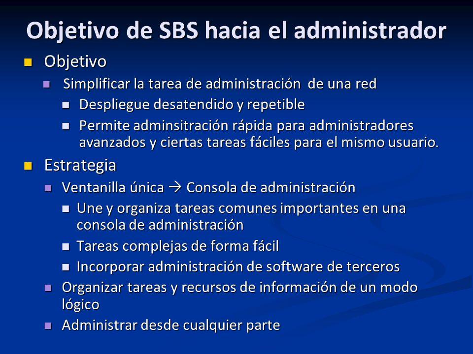Objetivo de SBS hacia el administrador
