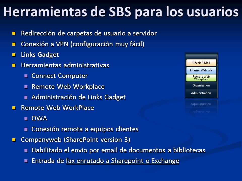 Herramientas de SBS para los usuarios