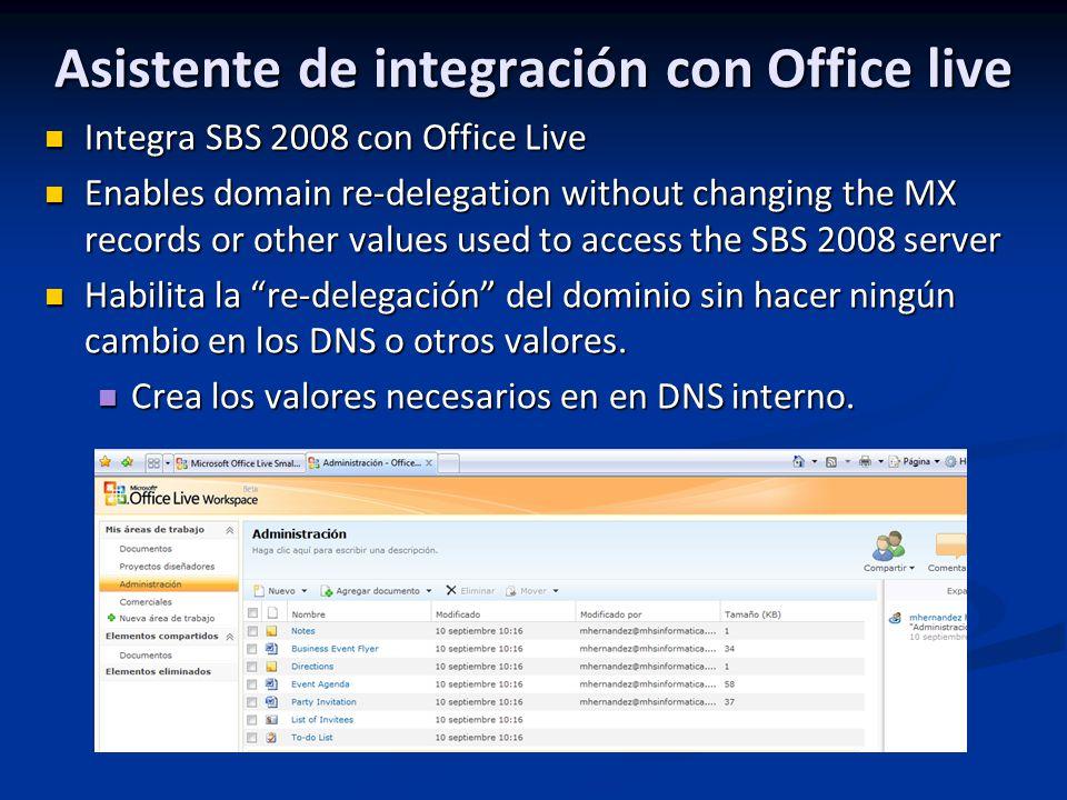 Asistente de integración con Office live