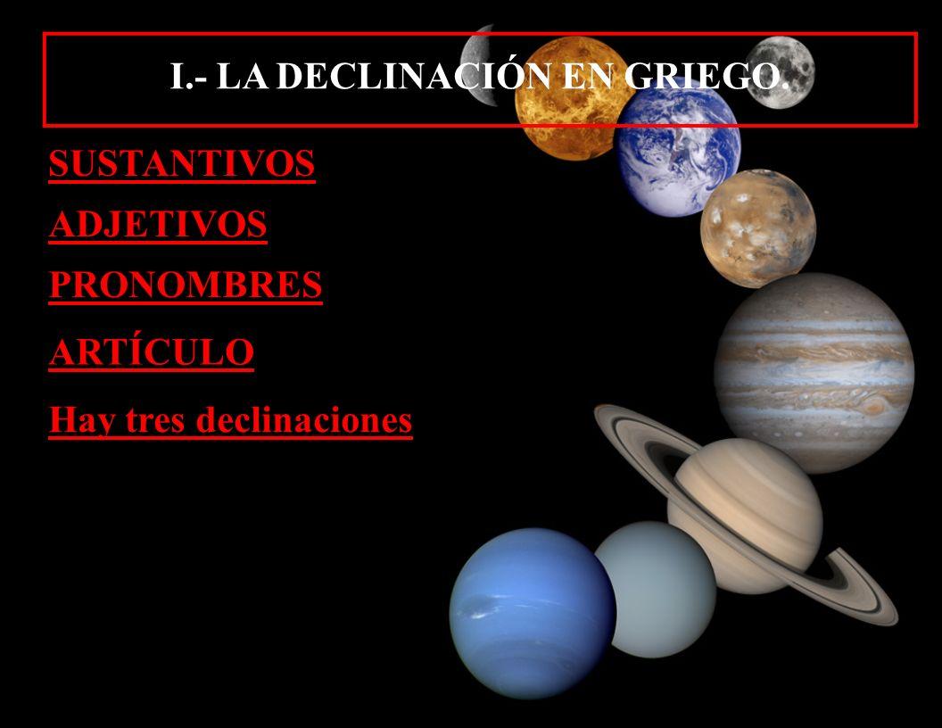 I.- LA DECLINACIÓN EN GRIEGO.