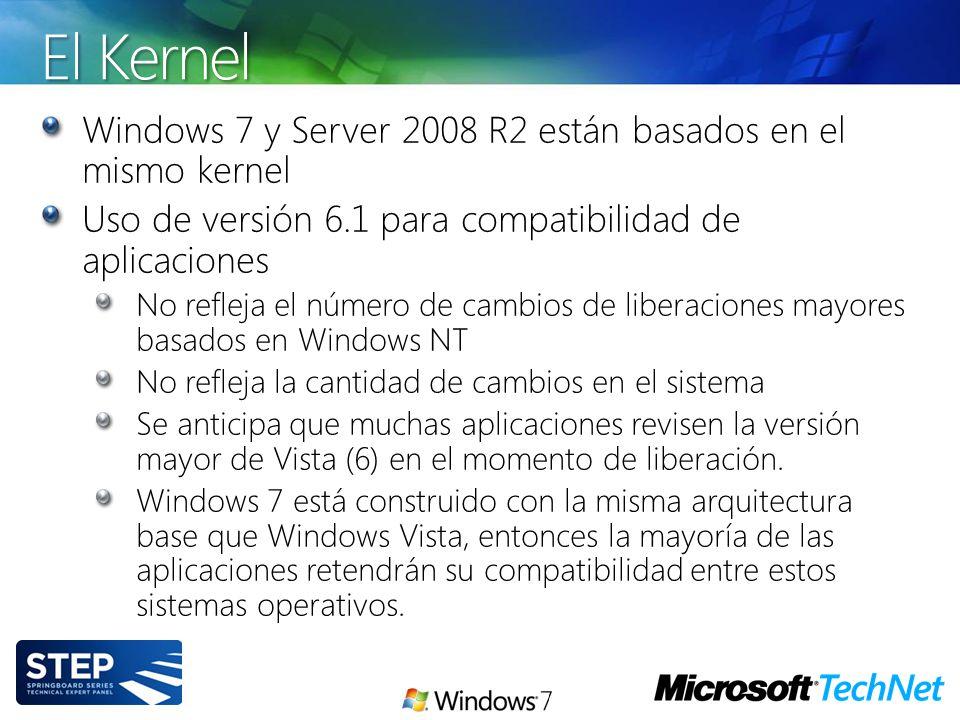 El Kernel Windows 7 y Server 2008 R2 están basados en el mismo kernel